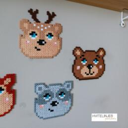 Nordiske dyr (Bjørn, Rådyr og Vaskebjørn) - Perlemotiv